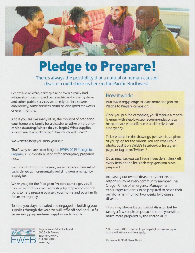 EWEB Pledge to Prepare March