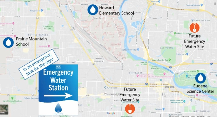Emergency ground water sites in Eugene